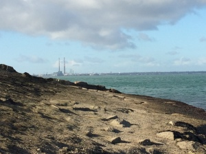 View of Poolbeg Generating Station from Dun Laoghaire Pier, Dublin